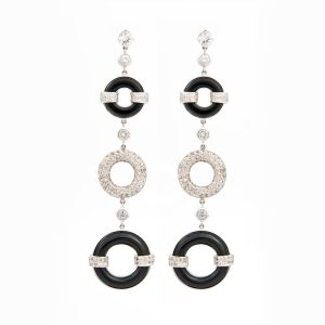 Art Deco Onyx earrings front