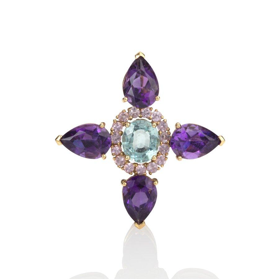 Apatite, Sapphire & Amethyst Pendant