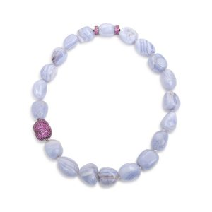 Chalcedony & Pink Sapphire Necklace 18K Black Gold