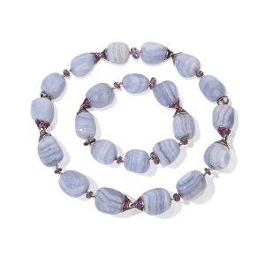 Chalcedony & Pink Sapphire Necklace Bracelet