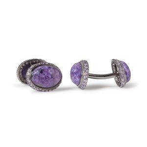 Charoite and Purple Sapphire 18K WG Cufflinks