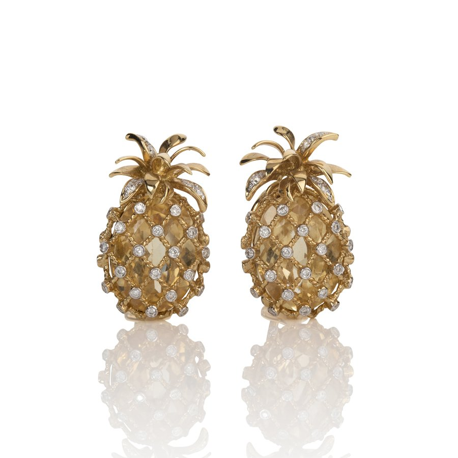 Pineapple Earrings with Citrine & Diamonds set in 18K Yellow Gold