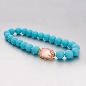 Crushed Shell Bead Turquoise colour Necklace w/ Rose Quartz & Pink Sapphire Clasp
