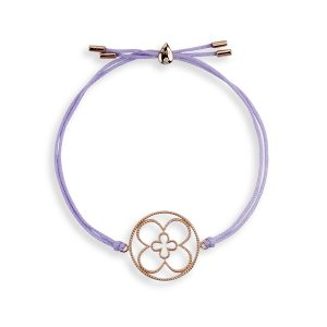 Faith Friendship Bracelet Rose Gold with Lavender Cord