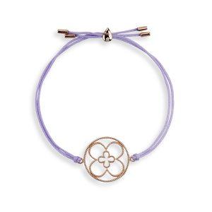 Faith Friendship Bracelet Rose Gold with Lavender Cord