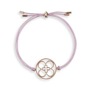 Faith Friendship Bracelet Rose Gold with Pink Cord