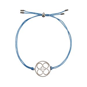 Faith Friendship Bracelet Sterling Silver with blue Cord