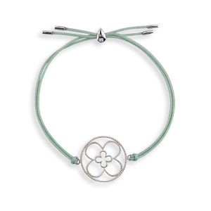 Faith Friendship Bracelet Sterling Silver with green Cord