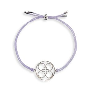 Faith Friendship Bracelet Sterling Silver with Lavender Cord