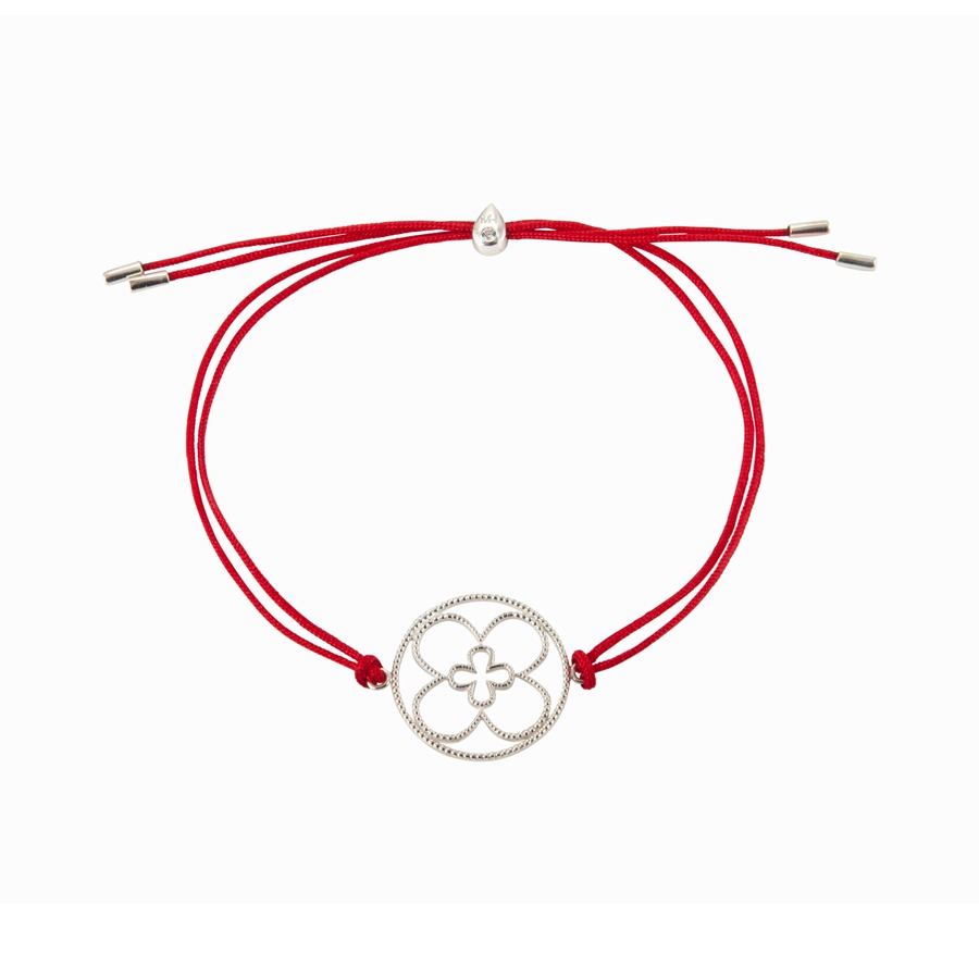 Faith Friendship Bracelet Sterling Silver with red Cord