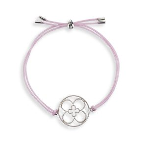 Faith Friendship Bracelet Sterling Silver with pink Cord