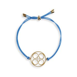 Faith Friendship Bracelet Yellow Gold with Blue Cord