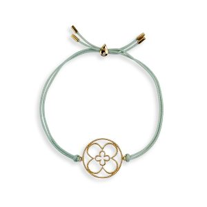Faith Friendship Bracelet Yellow Gold with Green Cord