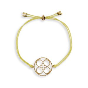 Faith Friendship Bracelet Yellow Gold with Yellow Cord