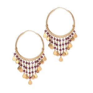 Gypsy Garnet Earrings 18k Yellow Gold