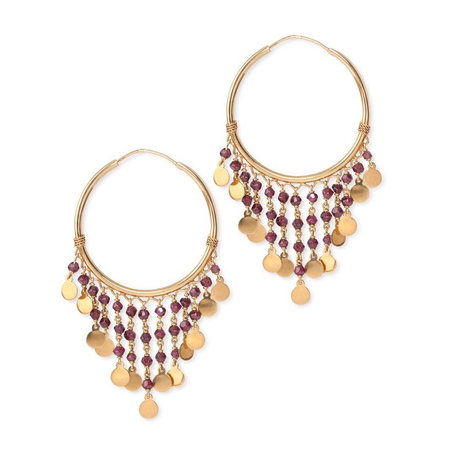 Gypsy Garnet Earrings 18k Yellow Gold