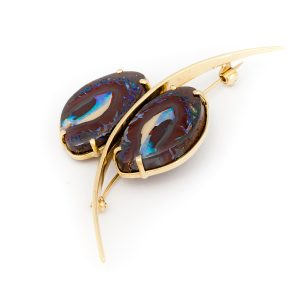18k Yellow Gold Opal Butterfly Brooch