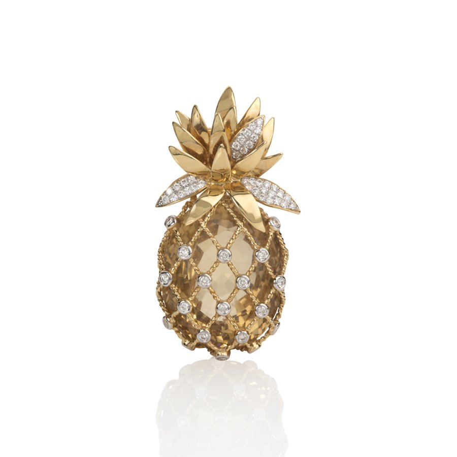 Pineapple Brooch with Citrine & Diamonds set in 18K Yellow Gold