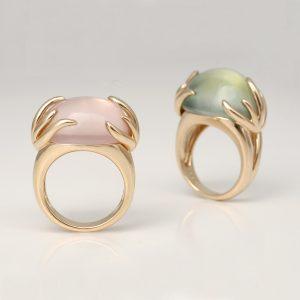 Pink Quartz Yellow Gold Aqua Ring