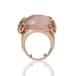 Rose Quartz & Pink Sapphires Aqua Ring