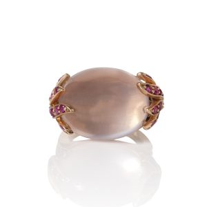 Rose Quartz & Pink Sapphires Aqua Ring Top