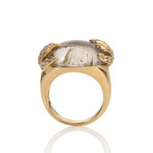 Rutile & White Sapphire Aqua Ring Profile
