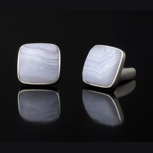 Sterling Silver Chalcedony Cufflinks