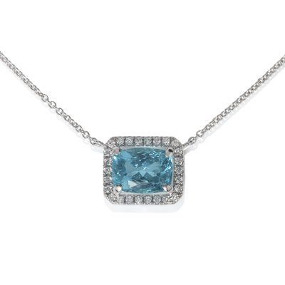 White Gold Diamond & Apatite Necklace