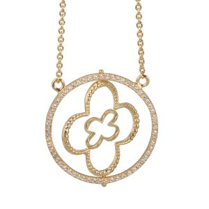 Faith Yellow Gold Vermeil Pendant with CZ