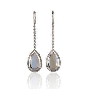 Moonstone Sapphire Earrings Back