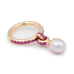 Rose Gold Charm Ring with Pink Sapphire and Pink Pearl