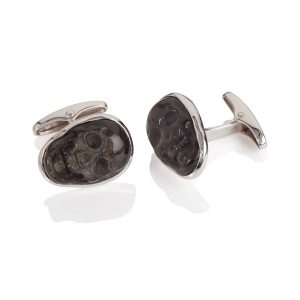 Sterling Silver and Black Agate Cufflinks