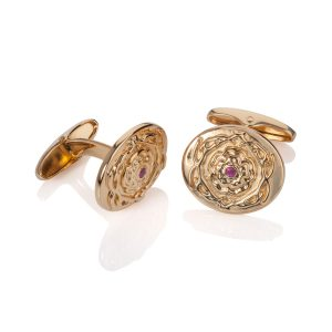 Stanhill 18k Yellow Gold Plated Cufflinks with Rubies