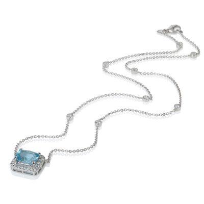 White Gold Diamond & Apatite Necklace