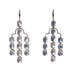 18k Black Gold & Moonstone Earrings