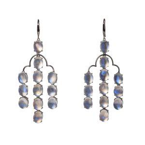 18k Black Gold & Moonstone Earrings