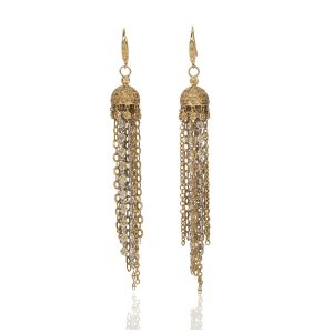Jellyfish 18K Yellow/White Gold with Yellow Sapphire Earrings Front