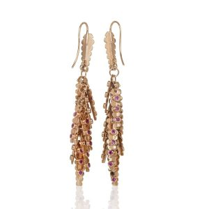 18k Rose Gold & Pink Sapphire Aztec Earrings Reverse