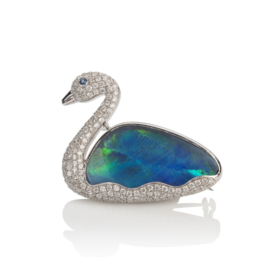Swan Opal & Diamond Brooch