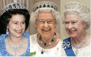 Her majesty Queen Elizabeth wearing the Valdimir Tiara with the natural pearls, the Cambridge Emeralds and without any drops. Photocredit: Getty Images