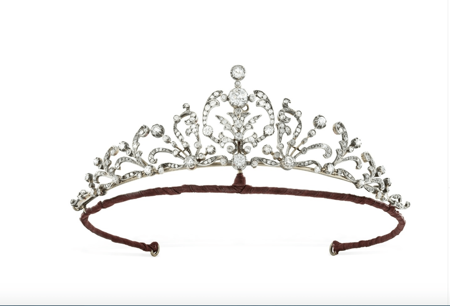 Victorian tiara set with old-cut diamonds in a  scrolling, foliate design