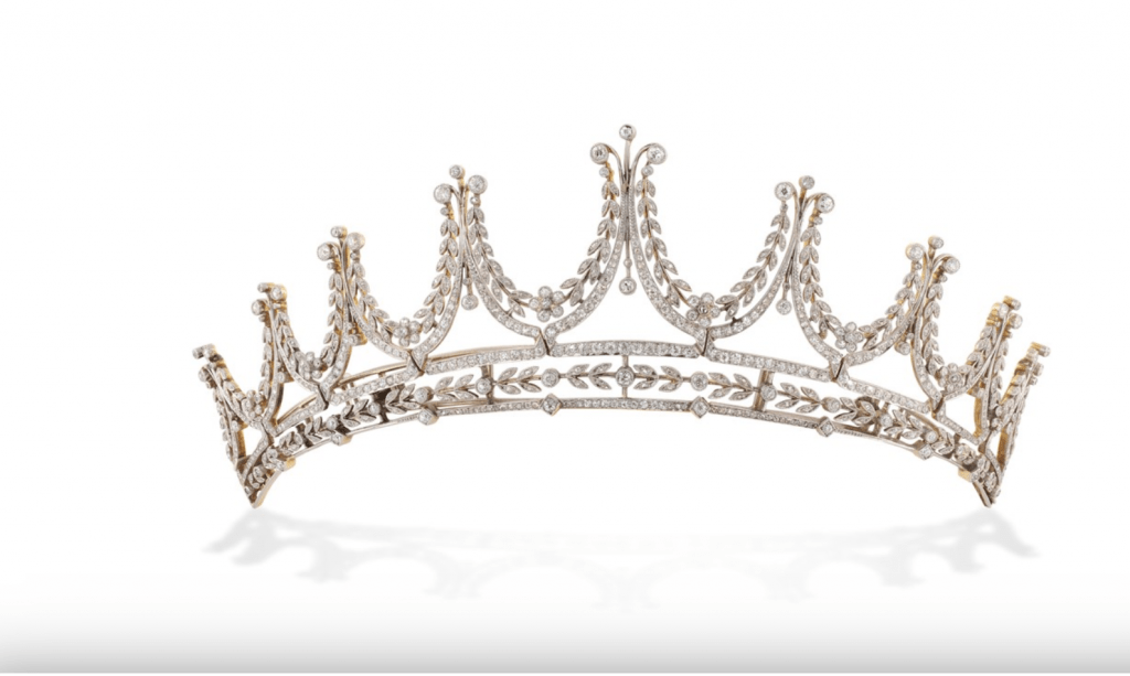 Bentley and Skinner Edwardian tiara set with old mine and rose-cut diamonds