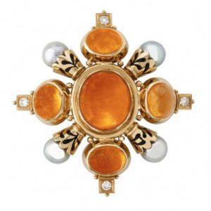 Mandarin garnet pin