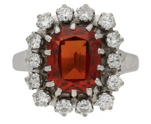 Garnet and diamond cluster ring
