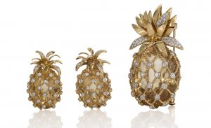 gold and diamond pineapple earrings and brooch