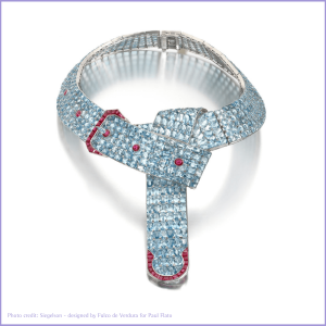 Aquamarine belt buckle necklace